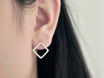 925 sterling silver square earring stud earring