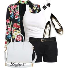 A fashion look from July 2013 featuring ballet shirt, floral jacket y loose fit shorts. Browse and shop related looks.