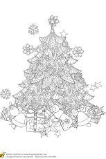 Coloriage pour un hiver zen, le sapin de Noël