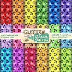 Just Polka Dots Digital Scrapbook Paper - Rainbow Colors, Commercial Use