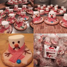 Gesmolten sneeuwman koek school-traktatie voor in de winter  Gemaakt met: volkoren koekjes, suikerglazuur, marsmallows, zure matten, mini smarties en chocolade-stiften