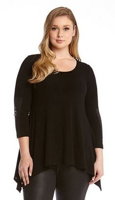 PLUS SIZE BLACK FAUX LEATHER HANDKERCHIEF TOP #Sexy #Black #Faux #Leather #Handkerchief #Top #Fall #Winter #Fashion