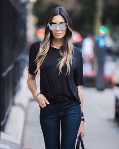 Sometimes a simple black tee is all you need! ◼️  @davidlernerny (Hair by @lizrimhair @igksalons) Photo: @grantfriedman #NYC #JTLInNYC