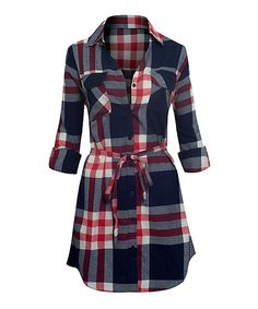 Red & Navy Plaid Tie-Waist Shirt Dress