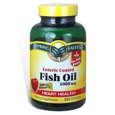 Spring Valley - Fish Oil Omega-3, 1000 mg, 100 Softgels, All Natural Enteric by Spring Valley. $10.26