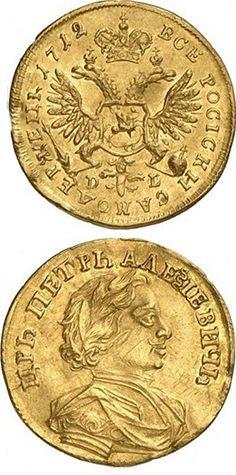 N♡T.1 червонец 1701 года. В России червонцами называли голландские золотые дукаты и цехины. Первый червонец, выполнявший функцию денег, был выпущен в 1701 году. В денежном обращении тогдашней России Золотой червонец занимал лидирующее место среди всех выпускаемых монет. В 1701 году их было выпущено всего 118 штук. Обычно червонцы использовались только для проведения внешнеторговых операций.