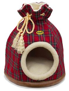 Red Tartan Duffle Bed for cats and small dogs