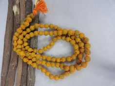Turmeric Haldi Japa Mala Rosary for Success, Destroy Enemies Yoga Meditation 108 Rosary Necklace Japa Mala, $6.99