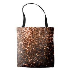 Beautiful Bronze Orange Brown glitters sparkles All Over Print Tote Bag by #PLdesign #sparkles #BronzeSparkles #SparklesGift