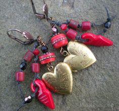Lucky in Love Vintage Heart Locket Amulet earrings by maggiezees, $40.00