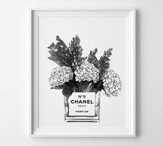 Flowers in a Chanel vase. N5 perfume printable poster. por Byoliart