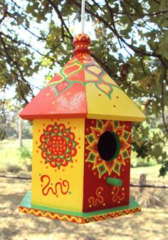 Red Orange Yellow Birdhouse Six Sides Floral by SingingTrees, $35.00