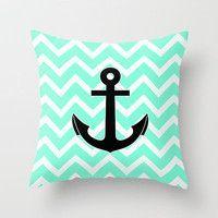 Tiffany Chevron Anchor Throw Pillow by Rex Lambo   Society6