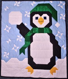 Penguin Baby Quilt Pattern in Multiple sizes PDF by CountedQuilts