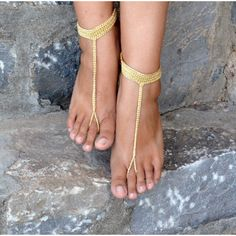 Gold Nomad Barefoot Sandals,Crochet Sandals,Sexy Foot Jewelry , Toe... ($16) ❤ liked on Polyvore featuring shoes, sandals, accessories, jewelry, sexy sandals, gold sandals, gold shoes, sexy shoes and party sandals