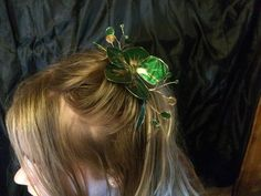 Green and Gold Hair Fascinator by RiverwalkRevisions on Etsy