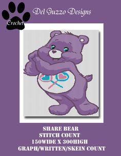 (4) Name: 'Crocheting : Care Bears Share Bear Crochet Graph