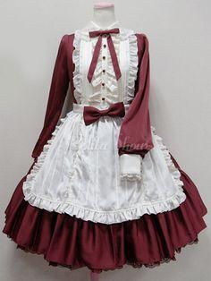 Elegantes Lolita Kleid mit Umlegekragen und langen Ärmeln im süßen und hübschen Style und Rüschen