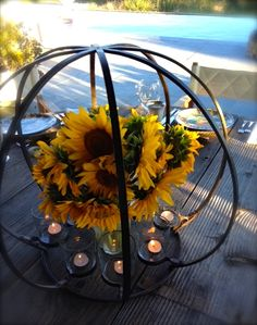 Sunflowers on the table at Rancho La Zaca | Frances Schultz