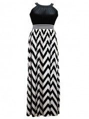 Halter  Striped Plus Size  Maxi  Dress