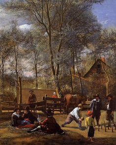 Steen : Skittle Players Outside an Inn (The National Gallery, London) ヤン・ステーン Dutch Republic, Infinite Art, Rip Van Winkle, Pintura Exterior, National Gallery, Baroque Art, Dutch Golden Age, Hieronymus Bosch, Dutch Painters