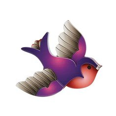 Mother's Day Gift Ideas : Betty Jo Sparrow (Erstwilder Purple Resin Brooch), now available. Hand assembled and hand painted, presented in a branded box.