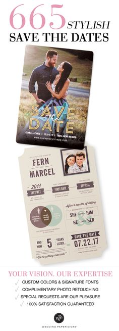 Newly engaged? Congratulations! Notify loved ones with a tasteful spin on traditional save the dates that will surely grab everyone's attention. From save the date magnets that guests can stick on their fridge doors, to save the date postcards which are both trendy and environmentally friendly since they don't require an envelope, you will certainly find something that suits your sense of style.