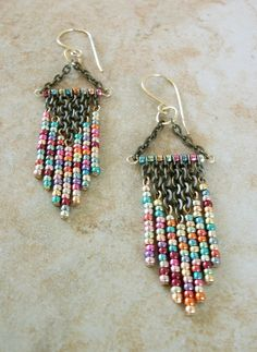 Metallic Mix Colored Beaded Chandelier Earrings / Free US Shipping. $25.00, via Etsy.