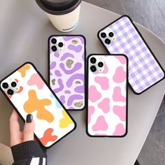 Pink Cow Pattern Case For Iphone 11 Violet Checkered Phone Cover For Iphone XR X XS Max 8 7 6 Plus SE2 Rainbow Cow Print Case|Fitted Cases