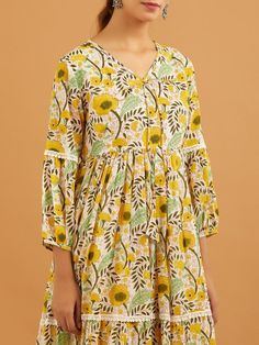 Buy Lemon Yellow Hand Block Printed Mulmul Dress | ATS22OCT131/ATS22 | Theloom A Line Kurta, Kurta Palazzo, Yellow Print, Lemon Yellow, Black Cotton, Blue Stripes, Red Green, Casual, Dresses