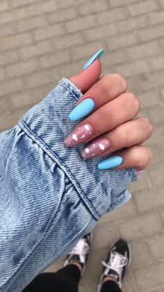 Cute Acrylic Nail Designs, Simple Acrylic Nails, French Acrylic Nails, Almond Acrylic Nails, Summer Acrylic Nails, Summer Nails, Baby Blue Nails With Glitter, Purple Nails, Minimalist Nails