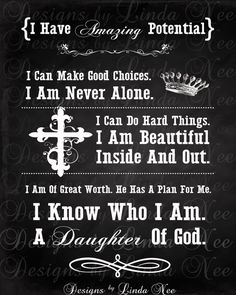 DAUGHTER of GOD Printable Typography Chalkboard -Subway Art Wall Printable- 4x6, 5x5, 5x7, 8x8, 8x10, 10x13, 11x14, 12x12, 16x20