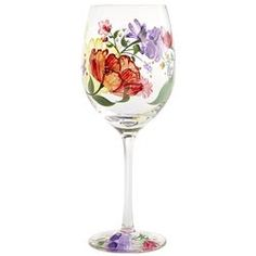 Spring Happy Floral Painted Wine Glass