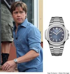 Spot Patek Philippe Nautilus Blue Watch on Brad Pitt - Cheapest Clone Watches Stylish Watches, Luxury Watches For Men, Cool Watches, Simple Watches, Dream Watches, Sport Watches, Patek Philippe Aquanaut, Patek Philippe Calatrava, Rolex