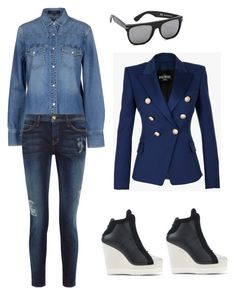 """""""Untitled #939"""" by abbey-ceee ❤ liked on Polyvore featuring Gucci, RetroSuperFuture, adidas Originals, Current/Elliott, Balmain, women's clothing, women, female, woman and misses"""