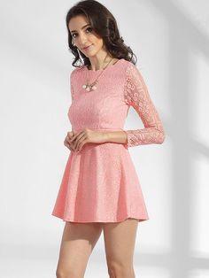 #Fashionmia - #Fashionmia Crew Neck Lace Hollow Out Plain Skater Dress - AdoreWe.com