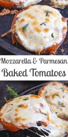 Simple baked tomatoes with mozzarella and parmesan cheese a delicious fresh tomato summer recipe perfect as a main dish or appetizer bakedtomatoes roastedtomatoes tomatoes summerrecipe appetizer tarte de tomates cerises crumble au pesto Vegetable Dishes, Vegetable Recipes, Vegetarian Recipes, Cooking Recipes, Healthy Recipes, Cooking Kale, Vegetarian Main Dishes, Baked Tomato Recipes, Gourmet