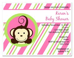 baby shower invites monkey theme girl - Google Search
