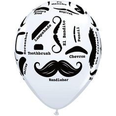 Are you still learning all of the 'stache styles?ᅠ The 11 inch white printed latex Moustache Styles Balloon is a perfect chic cheat sheet.ᅠ The balloon features a slew of 'stache styles sure to help e