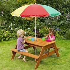 plum childrens garden picnic table and parasol - Garden Furniture Kids