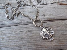 Ace of spades necklace with a fleur de lis handmade in sterling silver 925 by Billyrebs on Etsy