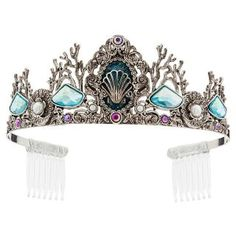Disney Ariel Tiara for Kids: Your little princess will shine under the sea of dazzling jewels on this Ariel Tiara. Swirling silver metal surrounds a sculpted seashell, creating waves of joy and crowning off her look in royal style. Daisy Duck, Disney Pixar, Disney Fun, Disney Store Uk, Ariel Costumes, Cinderella Costume, Princess Costumes, Mickey Mouse, Ariel Dress