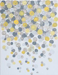 11x14 Canvas Painting Confetti: Yellow & Grey por luluanddrew