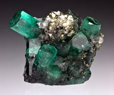 Emerald with Pyrite and Calcite from Colombia by Dan Weinrich