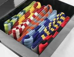 Rugby Sevens Sock Gift Box by Mark John's. The Rugby Sevens gift set comprises seven pairs of Marko John's superior socks, made in England with toe seams linked by hand, presented in a magnetic closing gift box (also made in England!) These are luxury British socks; a pair for each day of the week, and the perfect gift this Christmastime. For the dapper gent who loves to suit up, a flash of these bright, luxury socks just under the trouser hem will add the perfect... #Menswear