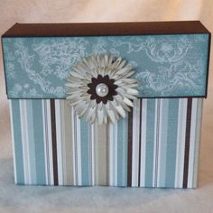 Stationery Box; Free picture tutorial.  Take off the lid and the front folds down to reveal cards, tags, an address book and pen