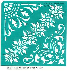 """Stencil """"Flowers Triangular Corners"""" 6 inch/15 cm, self-adhesive, flexible, perfect for your polymer clay, fabric, wood, glass, card making projects"""