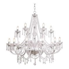A fifteen-arm crystal chandelier with a crown and silver coloured ...