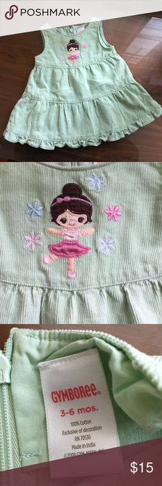 Gymboree corduroy dress Very cute dress. Light green with a ballerina on the front. Gymboree Dresses Casual