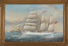 MARINEMALER 1800-/1900-TALLET   Skipsportrett Olje på lerret, 50x75 cm Usignert
